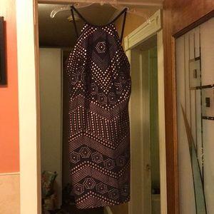 Grey with copper dots spaghetti strap dress